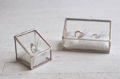 NEW Stained Glass Ring Holder - Hinged Glass Display Box - silver or copper - eco friendly - engagement