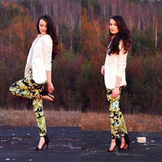 floral pants + zara heels