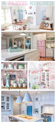 "Pretty Pastel Kitchen Inspiration with Big Chill Retro Ranges, Refrigerators, and Kitchen Appliances. Click to discover your kitchen dream with Big Chill. #""outdoorkitchenappliances"" #CoolRetroHomeDecorBigChill"