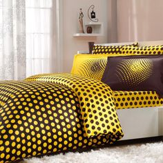 Sateen Duvet Cover Set Eldora – beautiful silk-like natural cotton Turkish sateen bedding set featuring polka dot design, golden path yellow and rich chocolate colors! Duvet Sets, Duvet Cover Sets, Bed Sets For Sale, Home Textile, Bed Spreads, Luxury Bedding, Bed Sheets, Pillow Cases, Modern Design