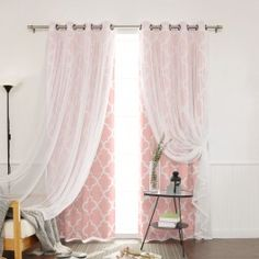 Dreamy tulle overlay on bold print curtains, use tie back to style. Bold Prints, Mixing Prints, Blackout Curtains, Window Curtains, Moroccan Print, Printed Curtains, Room Tiles, Passementerie, Curtain Sets