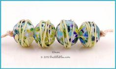$20 All Tied Up set - handmade lampwork art beads & jewelry by Bastille Bleu Lampwork  http://bastillebleu.com/