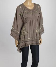 Look at this #zulilyfind! Olive Embroidered Cape-Sleeve Tunic #zulilyfinds