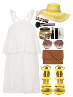 """""""Summer 2k15"""" by slam-style on Polyvore featuring Topshop, Michael Antonio, Vince, Marc Jacobs, Dorothy Perkins, Smashbox, Gucci, yellow, sandals and summer2015"""
