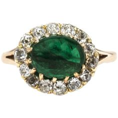 Pre-owned Victorian Cabochon Emerald Diamond Gold Engagement Ring ($4,950) ❤ liked on Polyvore featuring jewelry, rings, cocktail rings, 14k gold charms, pandora charms, diamond engagement rings и yellow gold engagement rings