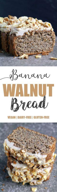 Banana Bread with Creamy Walnut Frosting - Vegan & Gluten-free - UK Health Blog - Nadia's Healthy Kitchen