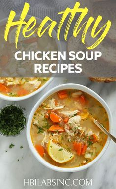 Healthy Soup Lunch Recipes with Chicken - HBI Labs Inc - Heat it up at home or keep in warm in a thermos and you can have your healthy soup lunch recipes anywhere you need to go. Detox Chicken Soup, Coconut Curry Chicken Soup, Rotisserie Chicken Soup, Paleo Chicken Soup, Homemade Chicken Soup, Vegetable Soup With Chicken, Chicken And Vegetables, Chicken Recipes, Lunch Recipes