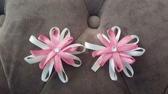 ONE PAIR PINK AND WHITE FLOWER STYLE HAIR CLIPS