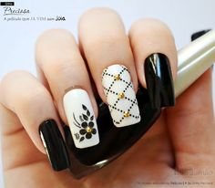 Nail Art - Nagel Design , Nail Trends , nail art galleries - Black and white Nail art visit here for more nail art inspo Classy Nails, Stylish Nails, Trendy Nails, Elegant Nails, Cute Acrylic Nails, Gel Nails, Manicure And Pedicure, Black And White Nail Art, White Nails