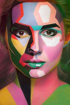 2D or not 2D is the second collaboration between photographer Alexander Khokhlov and make-up artist Valeriya Kutsan. This time around, the team was increased to include Veronica Ershova who led the process of retouching and post-production. The authors were inspired by two-dimensional posters and the goal was to turn the models faces into two dimensional-like images. Valeriya used an array of painting styles, from sketch and graphic arts to watercolour and oil-painting.