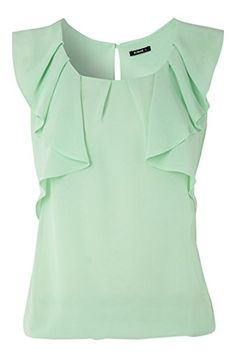 Roman Women's Top Sleeveless Frill With Elastic Hem Tops Mint Green Size 10: Amazon.co.uk: Clothing