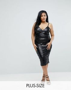 Club L Plus Cami Strap All Over Sequin Dress