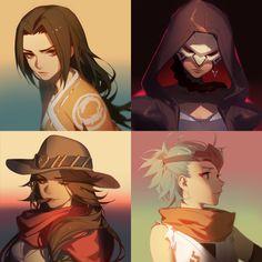 Anime 1600x1600 Overwatch Reaper (Overwatch) Genji (Overwatch) McCree (Overwatch) Hanzo (Overwatch) collage