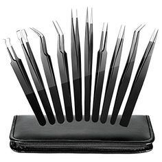 ElleSye ESD Safe Precision Tweezers, 10-piece Anti-Static Stainless Steel Tweezers Non-magnetic ESD Tweezer Set for Electronics, Jewelry, Craft, Laboratory Work, Eyebrow & Ingrown Hair Removal - PERFECT MULTIFUNTIONAL TWEEZER YOU DESERVE IS OVER HERE! The Versatility of Our Tweezer, Ideal for Different Uses Curved Tips Tweezers: Used for high precision operation and extraction in narrow space. Flat Head Tips Tweezers: Used for clamping bigger components. Pointy Tips Tweezers: Used for gr...