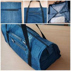 14 beautiful DIY bags to make with old jeans - Couture Diy Jeans, Diy Bags Jeans, Recycle Jeans, Diy Sac En Jean, Diy Duffle Bag, Sacs Diy, Duffle Bag Patterns, Patterned Jeans, Tote Bags Handmade