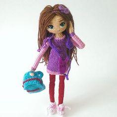 Amigurumi girl doll by bukebebek. Crochet Doll Clothes, Knitted Dolls, Crochet Dolls, Knitting Patterns, Crochet Patterns, Crochet Ideas, Crochet Art, Pretty Dolls, Amigurumi Toys