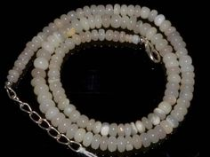 "#0035 Natural Ethiopian Welo Opal Gemstone Rondelle Plain Beads 70Ct 18""Necklace"