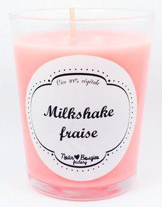 Bougie parfumée Milkshake fraise rose , cire de soja