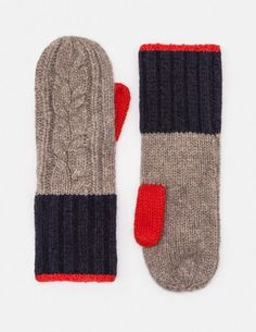 knitting mittens These chunky cable knit mittens with ribbed cuffs are made from a soft, lambswool-mix fabric that will keep your hands snug when the temperature drops. Team with the matching scarf and hat for a stylishly coordinated look. Knit Mittens, Knitted Gloves, Knitting Socks, Hand Knitting, Knit Sweaters, Knitting Machine, Red Mittens, Knitting Designs, Knitting Projects