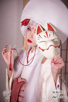 Japanese Fox Mask, Japanese Kimono, Japanese Girl, Japanese Makeup, Kokoro, Hiroshima, Face Art, Disney Characters, Fictional Characters