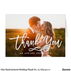 "Wedding Photos Chic Hand Lettered Wedding Thank You Postcard - Stylish wedding thank you post card template featuring a photo on the front and back, ""Thank You"" in a modern white script font, and custom text thank you message. Wedding Thank You Postcards, Wedding Postcard, Wedding Cards, Wedding Invitations, Wedding Gifts, Wedding Stationery, Invites, Golf Wedding, Wedding Stamps"