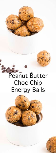 Delicious Peanut Butter Choc Chip Energy Balls that require no baking and take only 2min to make. Healthy, vegan and gluten free.