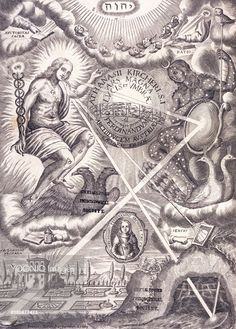 Frontispiece of Ars Magna Lucis and Umbra by Athanasius Kircher (Amsterdam, 1671). Traditional Hermetic/Alchemical symbols are mixed with a telescope, convex and concave mirrors and other optical devices. Kircher (1602-1680), German Jesuit priest, scientrist and polymath. Engraving.