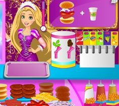 Rapunzel Fun Cafe Burger Heaven - Rapunzel owns a fast food restaurant and she is making these delicious sandwiches by herself. Can you believe that?.She's making hot dogs, hamburgers, drinks and cakes, cookies and ice cream! This is a demanding job so, Rapunzel really needs your help. Do you think you can do the job? Well you can't know if you don't try... So what are you waiting for? Try out this interesting game and help Rapunzel with her Fun Cafe..