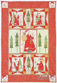 "Watercolor artist and fabric designer Arlene Neely designed this cute 36"" x 55"" holiday wall hanging using almost all of her Here Comes Santa panel."
