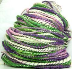 HandSpun YARN - Spring Crocus - Bulky merino wool and tencel Peridot And Amethyst, Cat Friendly Home, Hand Spinning, Shades Of Purple, Fiber Art, Merino Wool, Lilac, Artisan, Knitting