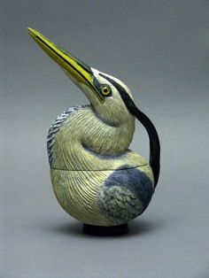 """Heron Teapot""  from Fantasy Teapots  Handmade by~Mirabelli Designs~ Located in ~Wenatchee, Washington, US~   