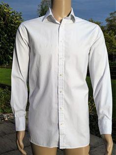 3d60a3f2e892 THOMAS PINK Mens White Long Sleeve DOGTOOTH PRINT SHIRT Lg 16