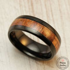 Black Tungsten Carbide Ring with Koa Wood Inlay by HappyLaulea