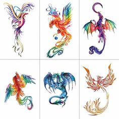 TCOOL Colorful Watercolor Phoenix Dragon Temporary Tattoos for Kids Women Hand T. - TCOOL Colorful Watercolor Phoenix Dragon Temporary Tattoos for Kids Women Hand Tatoo Sticker Body A - Phoenix Tattoo Feminine, Phoenix Tattoo Design, Tattoo Phoenix, Dragon Tattoo Feminine, Small Phoenix Tattoos, Small Tattoos, Face Tattoos, Body Art Tattoos, Tatoos