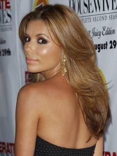 chokladbrunt hår, Eva Longoria, brunett med varmt blont hår