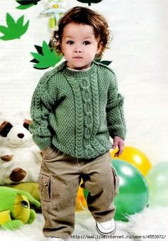RU - All about knitting Baby Boy Knitting Patterns, Baby Sweater Patterns, Knitting For Kids, Crochet For Kids, Baby Patterns, Knit Patterns, Crochet Baby, Pull Jacquard, Baby Coat