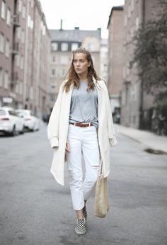 vans + white + belt + melange + t-shirt + cardigan