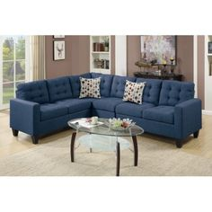 Bobkona Burril Linen-Like Polyfabric 4-Piece Left or Right Hand Reversible Sectional Set - Walmart.com