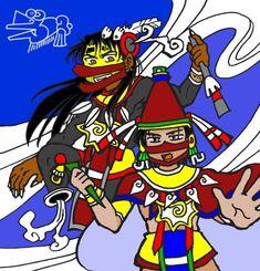 Yohualli Eecatl and Eecatl by nosuku-k on DeviantArt Aztec Emperor, Aztec Art, Mexica, I Really Love You, Japanese Language, Funny Art, Anime Art, Deviantart, Manga