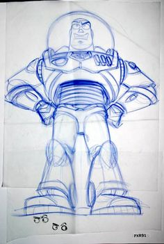 Buzz Lightyear. A preparatory drawing for the Toy Story animated feature. Copyright Pixar Animation Studios.