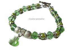 Bracelet fête des mères perles coeur swarovski : Bracelet par couleur-grenadine33