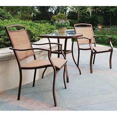 amazoncom mainstays sand dune 3 piece outdoor bistro set seats 2 amazoncom patio furniture