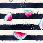 Splashy Watermelon Stripe by crystal_walen