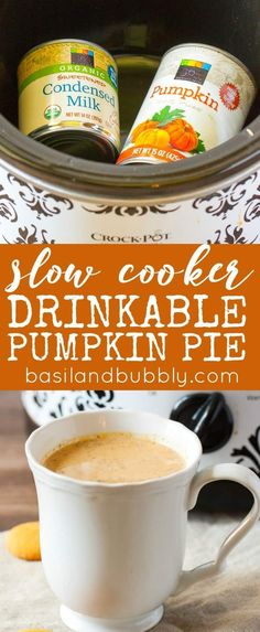 Like a pumpkin spice version of hot cocoa, without the chocolate! Slow cooker drinkable pumpkin pie can be made and served in your crock pot for your next party. I love this easy to make hot pumpkin holiday drink and can't wait to make it at Thanksgiving Crock Pot Slow Cooker, Slow Cooker Recipes, Crockpot Recipes, Crock Pots, Pumpkin Recipes, Fall Recipes, Holiday Recipes, Pumpkin Drinks, Pumpkin Pie Smoothie