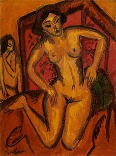 """expressionism-art: """" Female Nude Kneeling before a Red Screen, Ernst Ludwig Kirchner Size: cm Medium: oil on canvas"""" Ernst Ludwig Kirchner, Amedeo Modigliani, Figure Painting, Painting & Drawing, Karl Schmidt Rottluff, Edvard Munch, Dresden, Expressionist Artists, Founding Fathers"""