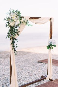 Today we are featuring a wonderful beach wedding that took place in Xylokastro, Greece! Deny and Nicolas chose to seal the deep with the blue sea as the Beach Wedding Arbors, Wedding Ceremony Arch, Wedding Altars, Beach Ceremony, Beach Wedding Decorations, Wedding Ceremonies, Beach Wedding Tables, Beach Wedding Attire, Ceremony Backdrop