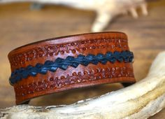 Navy Braided Leather Cuff. Casual and fun by EncoreLeatherDesigns