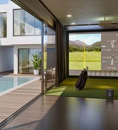 The Best Golf Simulator for your home or business. A complete Indoor Golf Simulator Solution with Putting and Impact Location, works indoor and outdoor. Home Golf Simulator, Indoor Golf Simulator, Backyard Bar, Backyard Patio Designs, Indoor Playroom, Golf Room, Pool House Designs, Golf Simulators, Home Landscaping