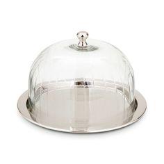 Boleira quadrada com prato em vidro e metal niquelado  31x31 cm