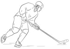 How to draw a hockey player step by step. Drawing tutorials for kids and beginners. Sports Coloring Pages, Coloring Pages For Boys, Coloring Pages To Print, Free Printable Coloring Pages, Colouring Pages, Free Coloring, Easy Pencil Drawings, Easter Drawings, Comic Art